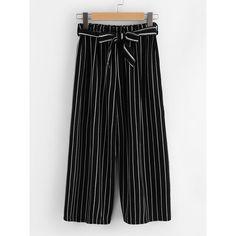 SheIn(sheinside) Vertical Stripe Self Tie Wide Leg Pants (62 HRK) ❤ liked on Polyvore featuring pants, black, stretch capri pants, palazzo pants, stretch pants, striped wide-leg pants and vertical stripe pants