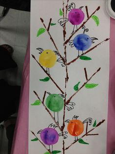 Kinder Birds..Printmake w/cut cardboard for the branches, trace baby bottle lids for the birds & tempera cake them. Add detail with sharpie markers & oil pastels for leaves & grass.