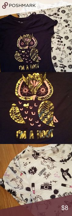 Set of two girls t-shirts Owl and Fashion Tee 14 Both gently used one is white featuring unicorns lipstick camera puppy says Dance All Night Dream beautiful very fun white T-shirt and then the blue features an owl and pink and gold says I'm a hoot in gold both gently worn smoke-free home Shirts & Tops Tees - Short Sleeve