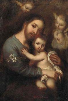 Saint Joseph carrying the Infant Christ - After Jose De Paez