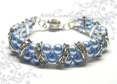 Swarovski Pearl Bracelet Blue Aquamarine Pearl Cuff by candybead, $20.00