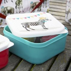LT Lunchtrommel vierkant Party animals Zebra