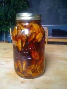 Pecan Infused Bourbon | This takes about a week to infuse, so plan ahead! #pecan #bourbon #thanksgiving