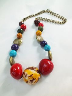 'colorful summer tagua bombona necklace' is going up for auction at  3pm Fri, Jun 8 with a starting bid of $10.