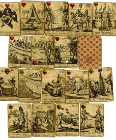 incomplete pack with 33 of 36 playing-cards: Defeat of the Turks by the Germans Hand-coloured etching Backs printed with a pattern of stars in red Early18th century Producer namePrint made by: Anonymous School/style