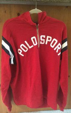 Vintage-Ralph-Lauren-Polo -Sport-Script-Style-Zip-Pullover-1990s-19-Red-Black-Xl cfcc5bedff