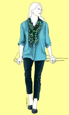 Eine schmale 7/8-Hose zur weiteren Hemdbluse sowie ein gemusterter Statement-Schal und Slipper schaffen den Spagat zwischen strukturiert und lässig - ideal für Lehrerinnen.