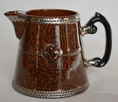 Antique Faux Bois Black English Transferware Creamer Pitcher Silver Overlay Shield Wood Grain