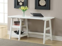 Stylish Writing Desk Ladder Style Sturdy Home Office Furniture White Finish New Home Office Desks, Home Office Furniture, Office Decor, Office Ideas, Furniture Decor, Small Office Desk, Furniture Design, Office Nook, Office Designs