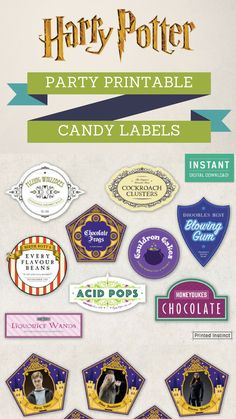 Harry Potter Candy Labels! I could open my own Honey Dukes with these!  ad #affiliate #etsy #etsydownloads #printableart #labless #instantdownload  #harrypotter #harrypotterfan #candybuffet #honeydukes #chocolatefrog