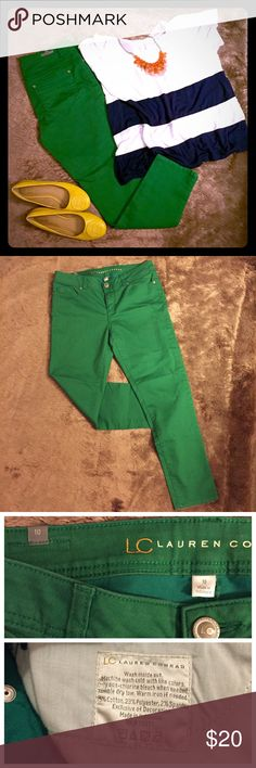 "LC Lauren Conrad - Kelly Green Pants /skinny jeans NWOT - Size 10 - worn once, but a bit too big for me! I love these jeans but I'm 5'3"" and don't want to hem them if they could just go to a fellow posher with a better booty to fill them out! Sadly my squats are taking too long! make an offer if you'd like - reasonable offers and trades considered! Bundle discounts 2+ - 20%. Can post measurements if needed!! Otherwise, these amazing pantelones are pretty true to size! LC Lauren Conrad Jeans…"