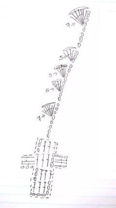 Ruedo vestido como empezar Crochet Bookmark Pattern, Crochet Bookmarks, Crochet Cross, Crochet Diagram, Crochet Stitches Patterns, Crochet Chart, Filet Crochet, Crochet Leaves, Crochet Circles