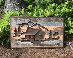 Rustic Cabin in the Wood Silhouette Wall Art by Bayocean Rustic Design