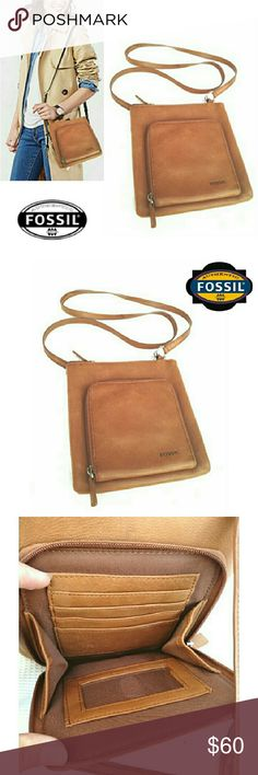"FOSSIL GENUINE  LEATHER CROSSBODY BAG FOSSIL GENUINE LEATHER CROSSBODY BAG Pre-Loved  / Image for Similarity  *   Fossil # SL 8750 *   Large Upper Interior Zipper Compartment  *   Exterior Zipper Compartment w/Fold Out *   Fold Out Contains 5 Slip Slots & ID Window *   Silver Hardware *   Strapless has 23"" Drop *   Approx Meas; L 7 3/4"" H 8"" Extra Pouch 6"" X 6"" Some Darkening on Strap & General Aging Fossil Bags Crossbody Bags"