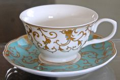 GRACE'S TEAWARE TEACUP & SAUCER SETS 2 TURQUOISE & GOLD DESIGN NEW PORCELAINE