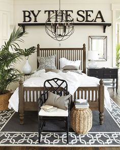 Beautiful coastal/beach bedroom with lovely coastal accents