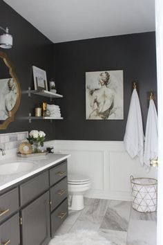Bathroom pictures from thedestinyformula.com show how to make the most of a small bath with smaller bathroom fixtures, bold paint colors and pretty decorating details.