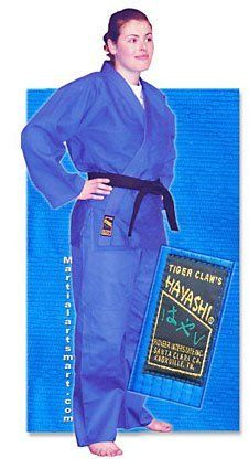 Blue Single Weave Hayashi Judo Gi - Size 0 by Tiger Claw. $64.00. Hayashi single weave Judo/Jujitsu uniform made of the finest 100% natural bleached cotton fabric. The tops are designed with the traditional rice-grain weave on the top section and the diamond pattern on the bottom section. The pants have the standard draw string waist and quilted knees. Hayashi Judo/Jujitsu uniforms are heavy duty with re-enforced stitching that take as much punishment as one can give. The la...