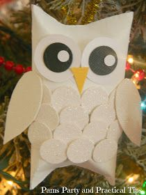 DIY make these Feathered Snow Owl Ornaments from Toilet Paper Rolls by Pams Party& Practical Tips ♥