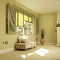 Living room with natural shutters and blinds