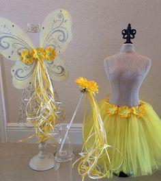 Yellow Fairy Costume Yellow Tutu Yellow Fairy Wings Yellow