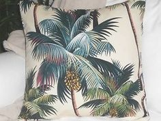 Tropical Hawaiian 100 Cotton Barkcloth Fabric Pillow Slipcover Palm Trees | eBay