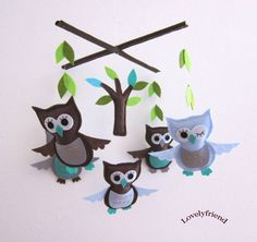 felt owl crib mobile