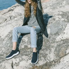 Slip-ons, lace-less, loungers. Whatever you call them, get where you want to go even faster with these comfy, extra stretchy sneaks. Carbon Footprint, Slip On Shoes, Herringbone, Comfy, Lace, Womens Fashion, Slip On Tennis Shoes, Slip On Trainers, Racing