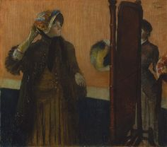 At the Milliner's, 1882 Edgar Degas (French, 1834–1917) Pastel on pale gray wove paper (industrial wrapping paper, stamped on verso OLD RELI...