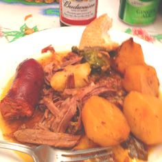 Portuguese style pot roast with sausage and potatoes Portuguese Recipes, Portuguese Soup, Beef Recipes, Cooking Recipes, Great Recipes, Favorite Recipes, Dinner Dishes, International Recipes, Pot Roast