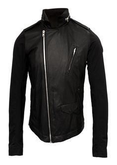 Rick Owens | Stoogers Contrast Sleeve Leather Jacket Black | Hervia.com #leather #rickowens #contrastsleeve