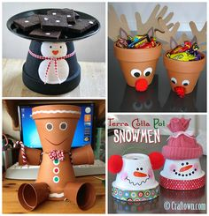 Creative Terra Cotta Pot Christmas Crafts for Kids - Kids Art & Craft Clay Pot Projects, Christmas Art Projects, Clay Pot Crafts, Christmas Crafts For Kids, Homemade Christmas, Christmas Fun, Holiday Crafts, Holiday Fun, Christmas Decorations