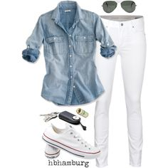 A fashion look from April 2013 featuring cropped jeans, white shoes and key purse. Browse and shop related looks.