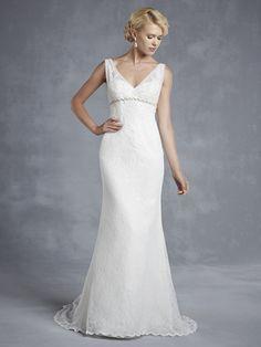 Cheap Classic Elegant Sheath/Column Straps V-neck Beading Lace Sweep/Brush Train Wedding Dress Free Measurement