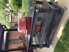 My custom built Kamado Joe island. Rustic Outdoor Kitchens, Outdoor Kitchen Plans, Backyard Kitchen, Outdoor Kitchen Design, Backyard Bbq, Outdoor Cooking, Outdoor Spaces, Outdoor Decor, Kamado Grill