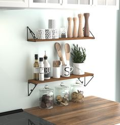 Install our Pigna Rustic triangle wall shelf set anywhere in your kitchen or pantry, tidy up your countertops and create your own kitchen decor. These floating shelves will help you organize your plates, mugs, cooking supplies, coffees, teas, pastas, oils, spices, and more. Their sturdy construction is perfect for commercial use as well. Use these Kitchen shelf set for wall in your restaurant, bar, café, diner, hotel, or small eatery. Each of these pantry organization and storage units has a dec Kitchen Wall Shelves, Kitchen Shelf Decor, Farmhouse Wall Decor, Kitchen Furniture, Rustic Apartment Decor, Kitchen Wall Decorations, Kitchen Shelf Organizer, Kitchen Shelving Units, Kitchen Shelf Design