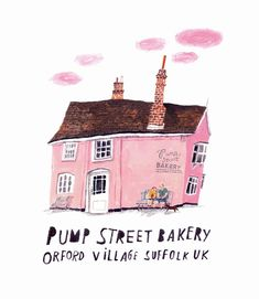 pump street bakery, Orford Village Suffolk, Uk illustration by moreparsley - Today Pin Building Illustration, House Illustration, Graphic Illustration, Up Book, Guache, Web Design, Sketchbook Inspiration, Beautiful Drawings, Illustrations And Posters