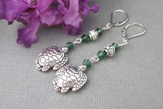 Turtle Earrings With Green Crystals, Turtle Lever Back Earrings, Silver Pewter Turtle Earrings, Long Dangling Earrings, Summer Earrings Turtle Earrings, Angel Wing Earrings, Dangle Earrings, Mother Gifts, Mothers, Perfect Gift For Mom, Homemade Jewelry, Unique Jewelry, Beaded Jewelry