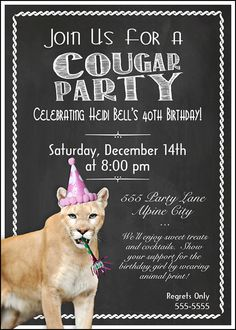 44 best 65th birthday invitations images on pinterest birthday cougar party birthday invitation print at home by melindabryantphoto 1065 womens 40th or 50th birthday filmwisefo