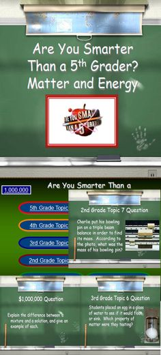 """This is one of our favorite whole class review games. Included are questions about: States and Properties of Matter, Conductors, Insulators, Water Cycle, Enjoy as a whole class separated into teams, or in small groups as individuals! When the ppt is first opened the song, """"Are You Smarter Than a 5th Grader?"""" comes on. I crank it up and my whole class will sing along! They get so excited about reviewing our science objectives!!"""