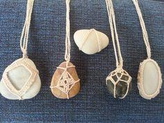 taş kolye crochet stone necklace