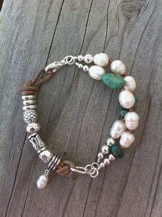 Cuero natural pepita de color turquesa perlas de agua dulce