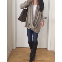 Forever 21 draped attached-scarf cardigan (size XS), H&M scalloped top, Old Navy rockstar jeans, Stuart Weitzman Justmine boots, Louis Vuitton Neverfull MM