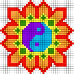 Yin Yang Flower Perler Bead Pattern / Bead Sprite