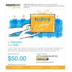 Amazon Gift Card - E-mail - Happy Birthday Cake. From #Amazon  Price $50.00 Availability Usually ships in 24 hoursShips . From #and sold by Amazon.comAverage customer review  4255 customer reviews