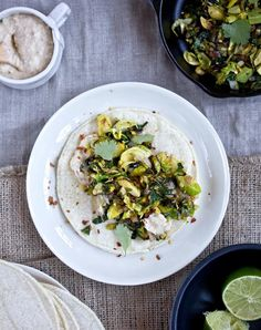 """What's cooking, Good looking? crisp kale + brussels sprout tacos with avocado + a white bean """"creama"""" // vegan - what's cooking good looking - a healthy, seasonal, tasty food and recipe journal Enchiladas, Quinoa, Clean Eating, Healthy Eating, Healthy Food, Vegetarian Recipes, Healthy Recipes, Diet Recipes, Pesto"""