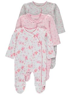 3 Pack Butterfly Print Sleepsuits, read reviews and buy online at George at ASDA. Shop from our latest range in Baby. Your little butterfly will have no trou...