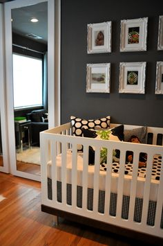 Modern Nursery , The room was small with a very weird closet and hideous closet doors.