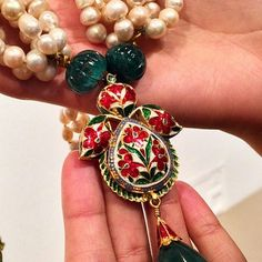 Jugni with Basra pearls and emeralds.