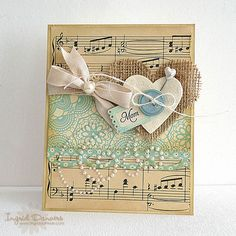 ***** filler cards  burlap and sheet music! Love the different textures from silk ribbon to the burlap heart, pearls, button, stick pin